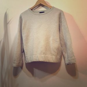 J Crew pale grey felted wool pullover